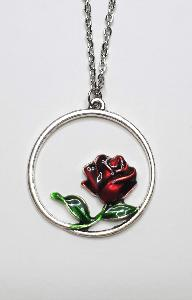 COLLIER CERCLE ET ROSE ROUGE