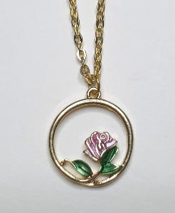 COLLIER CERCLE ET ROSE