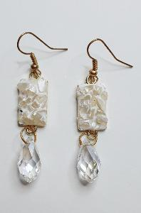 BOUCLES D'OREILLES RECTANGLE PIERRES ET GOUTTE BLANCHES